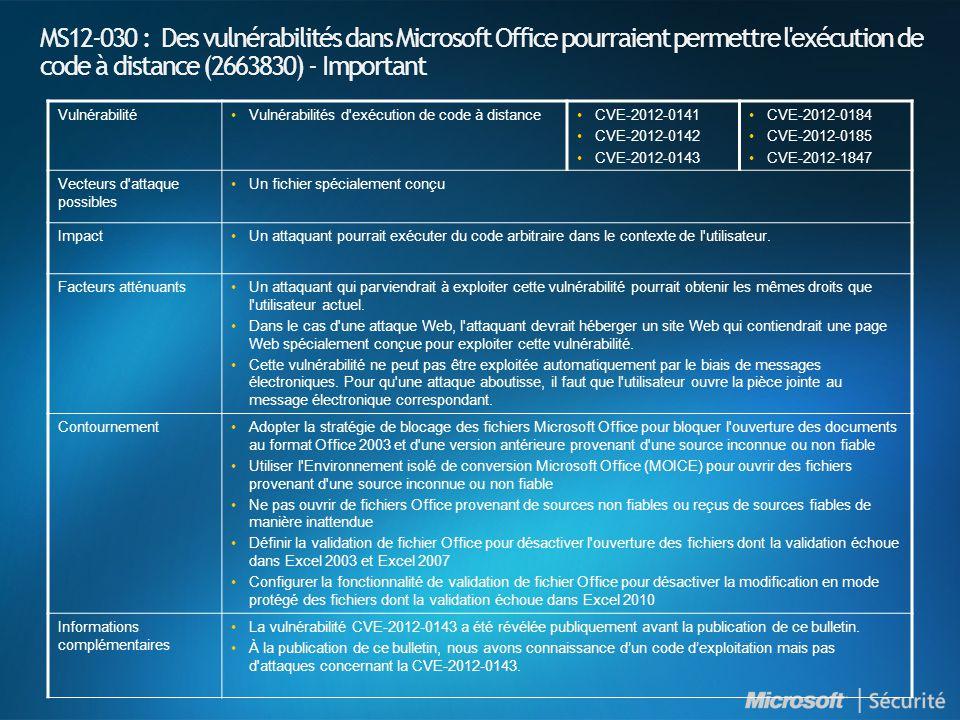 MS12-030 : Des vulnérabilités dans Microsoft Office pourraient permettre l exécution de code à distance (2663830) - Important