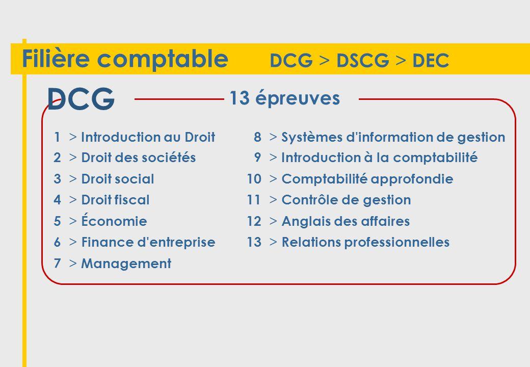 DCG Filière comptable DCG > DSCG > DEC 13 épreuves