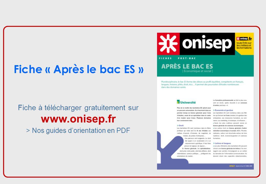 Fiche « Après le bac ES » www.onisep.fr