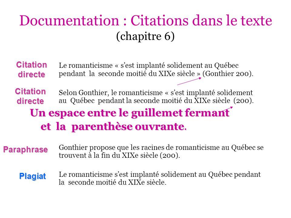 Documentation : Citations dans le texte (chapitre 6)