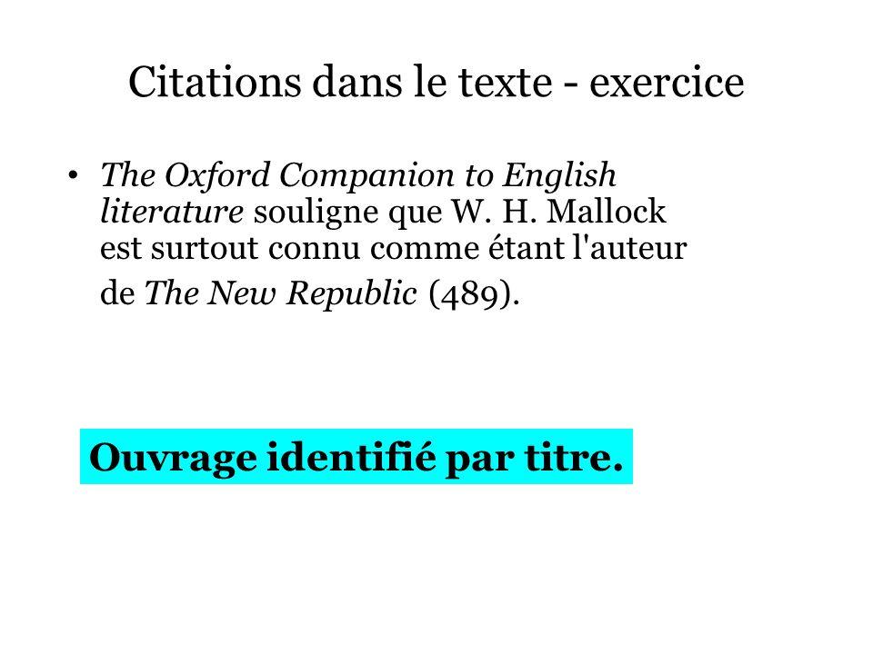 Citations dans le texte - exercice
