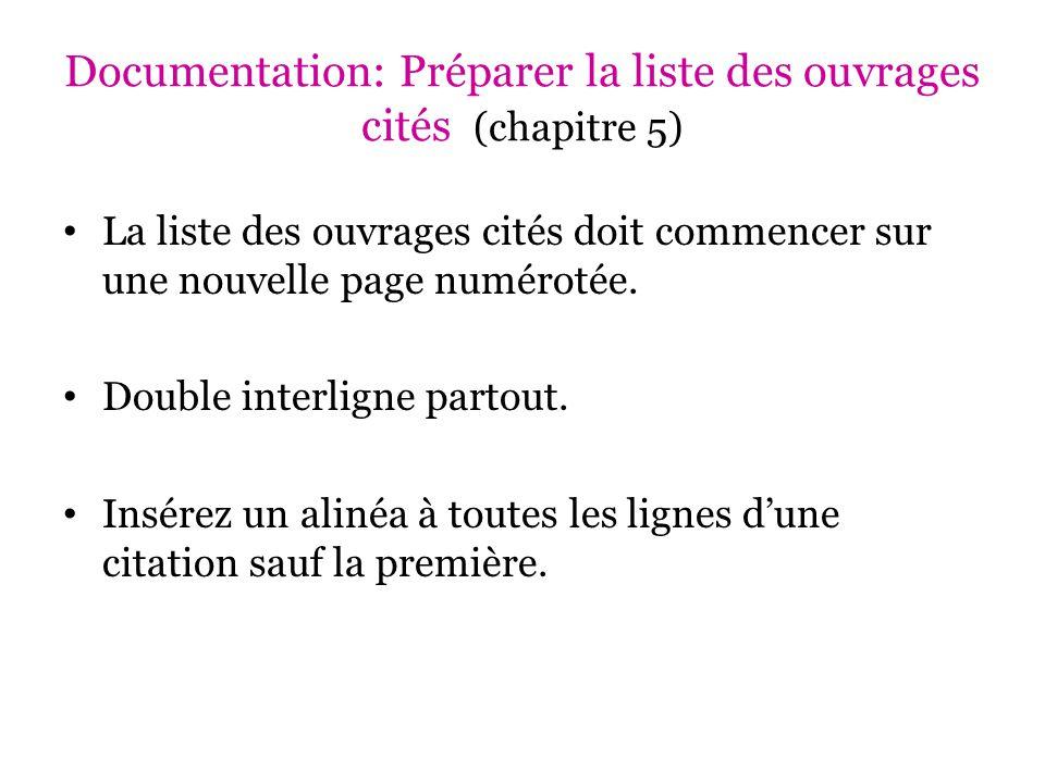 Documentation: Préparer la liste des ouvrages cités (chapitre 5)