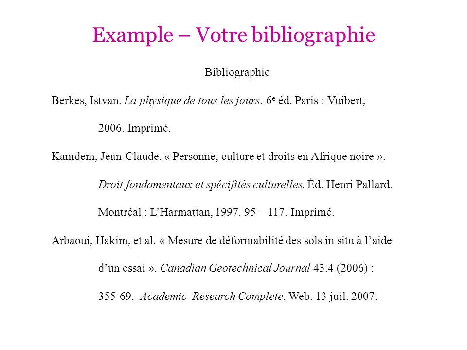 Example – Votre bibliographie