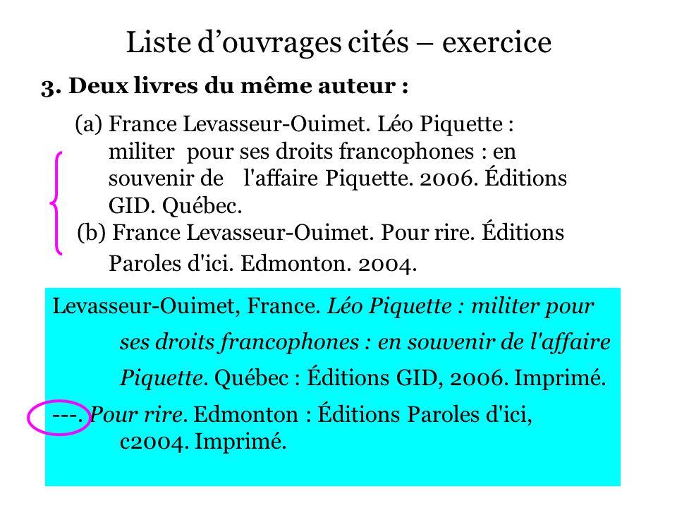 Liste d'ouvrages cités – exercice