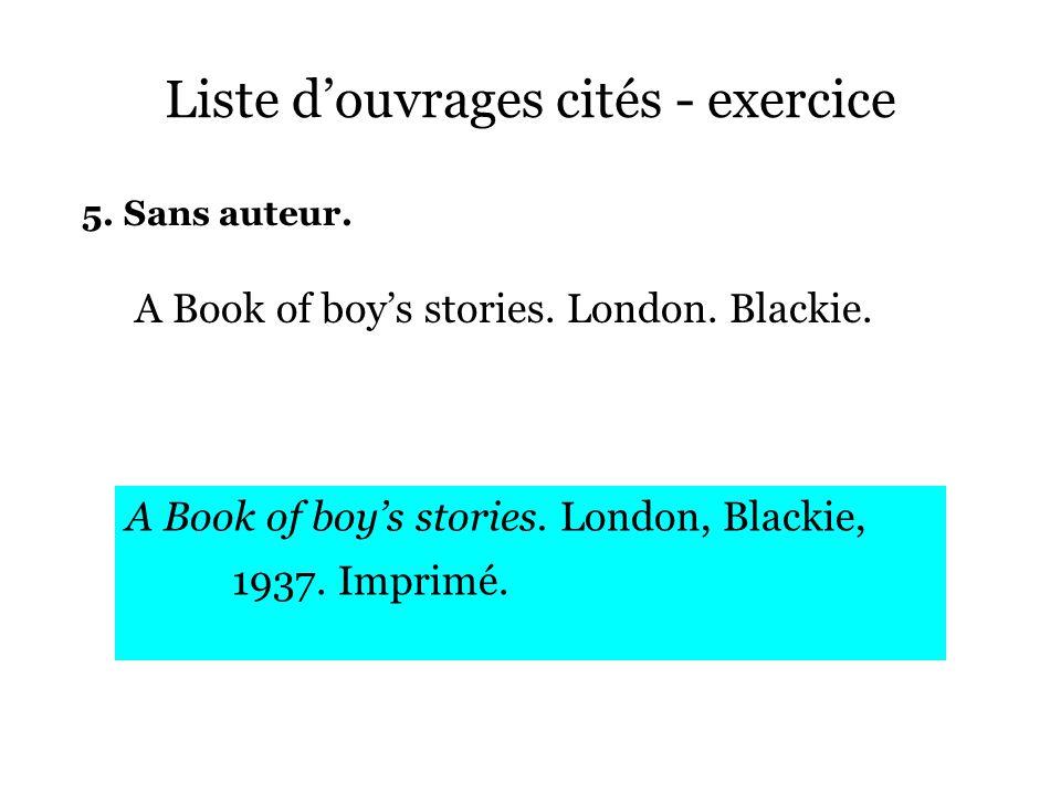 Liste d'ouvrages cités - exercice