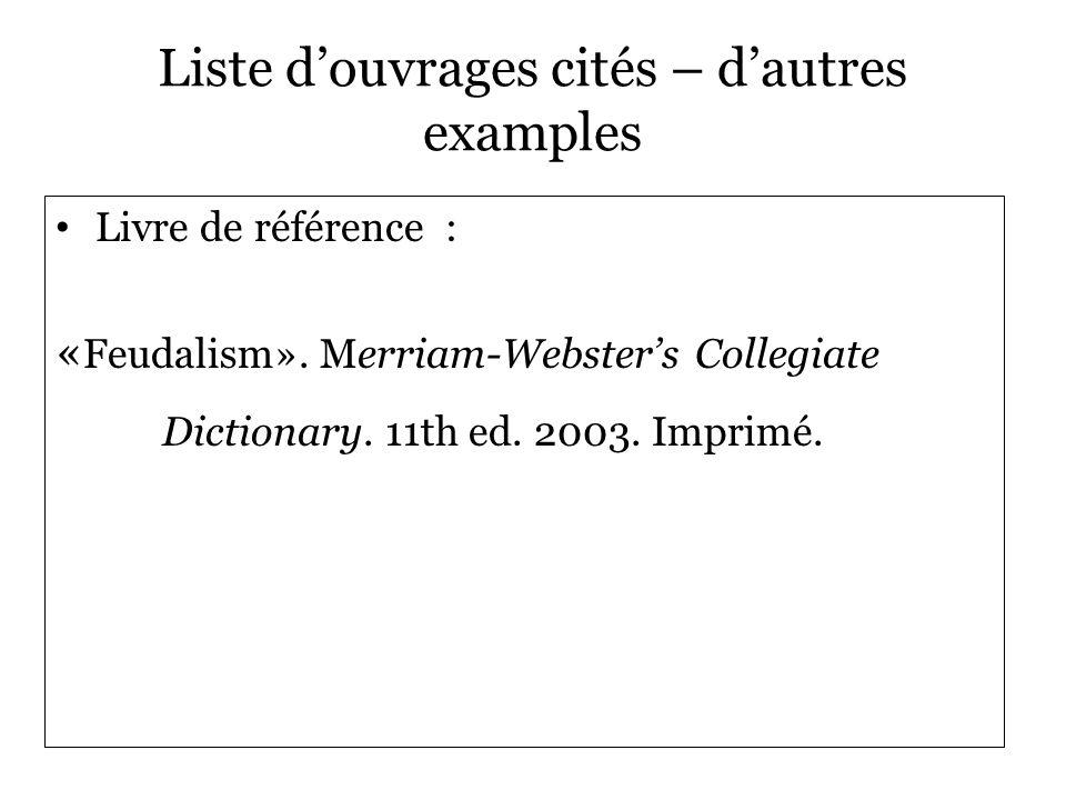 Liste d'ouvrages cités – d'autres examples