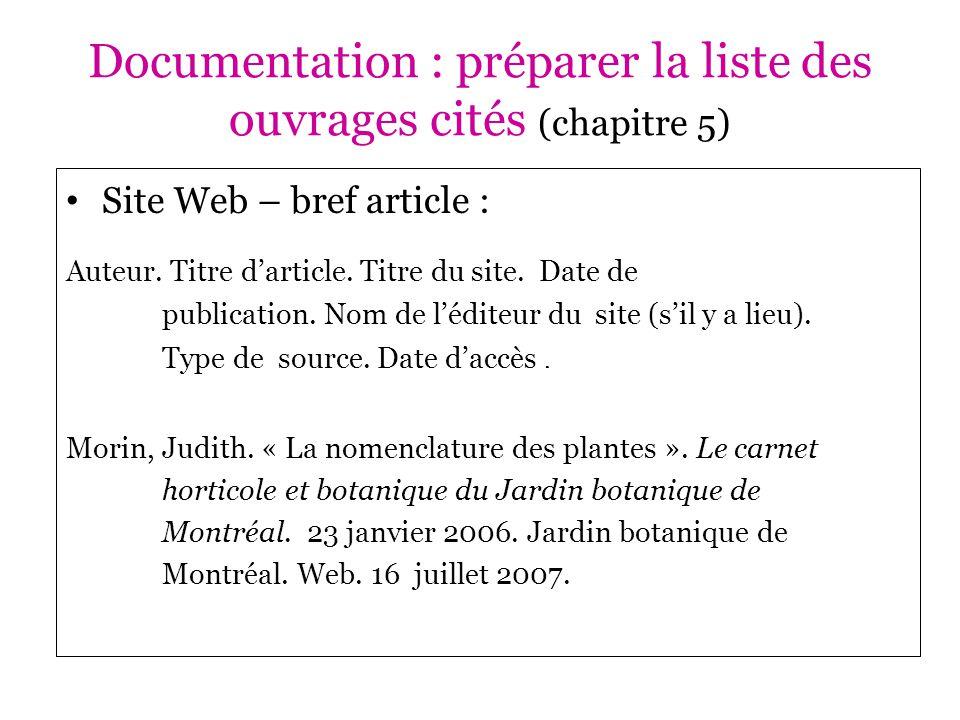 Documentation : préparer la liste des ouvrages cités (chapitre 5)