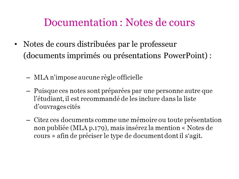 Documentation : Notes de cours