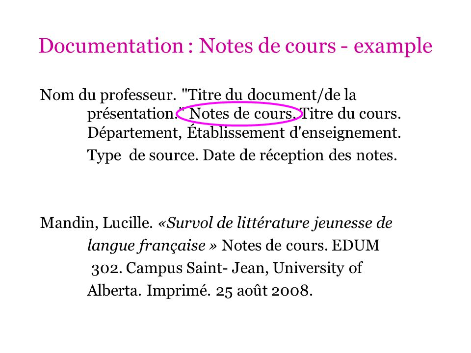 Documentation : Notes de cours - example