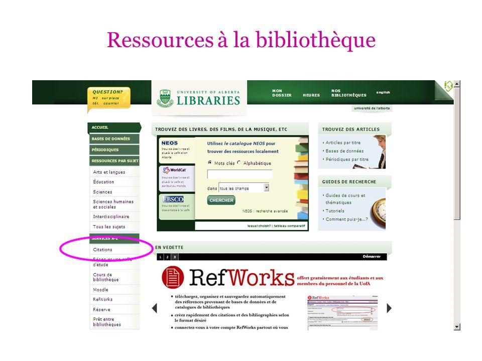 Ressources à la bibliothèque