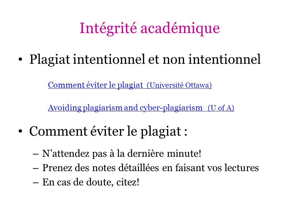 Intégrité académique Plagiat intentionnel et non intentionnel