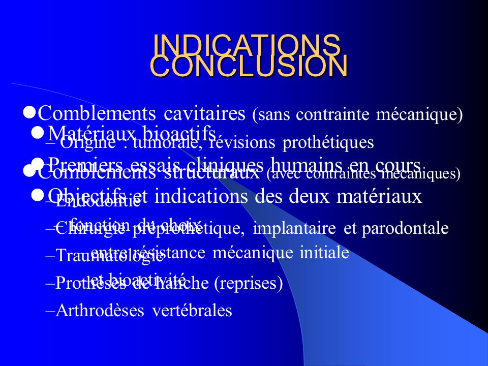 INDICATIONS CONCLUSION