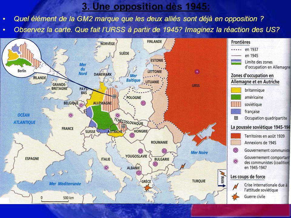 3. Une opposition dès 1945: Quel élément de la GM2 marque que les deux alliés sont déjà en opposition