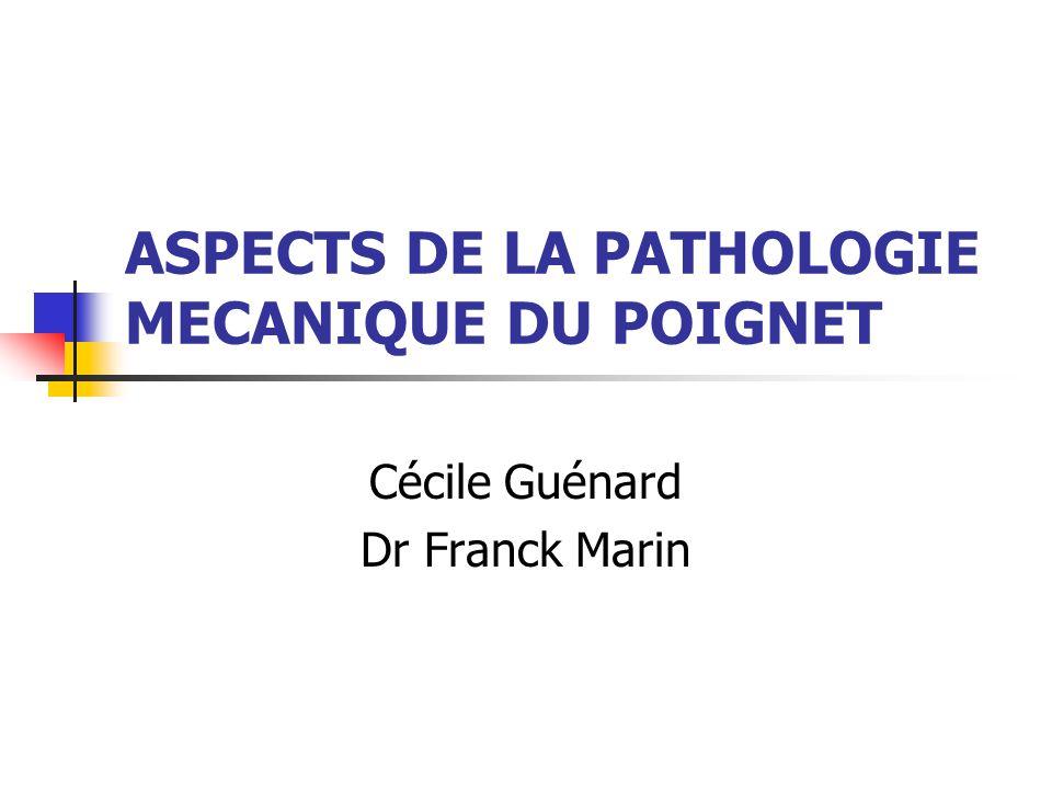 ASPECTS DE LA PATHOLOGIE MECANIQUE DU POIGNET
