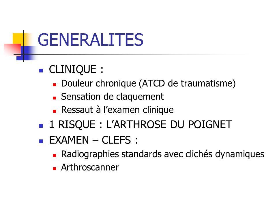GENERALITES CLINIQUE : 1 RISQUE : L'ARTHROSE DU POIGNET