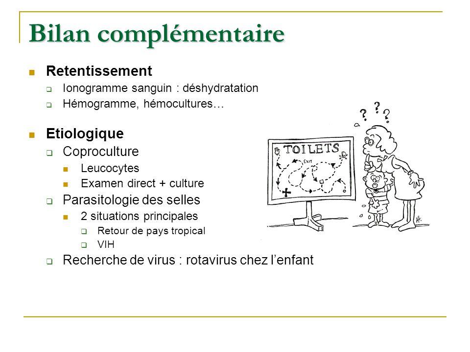 Bilan complémentaire Retentissement Etiologique Coproculture