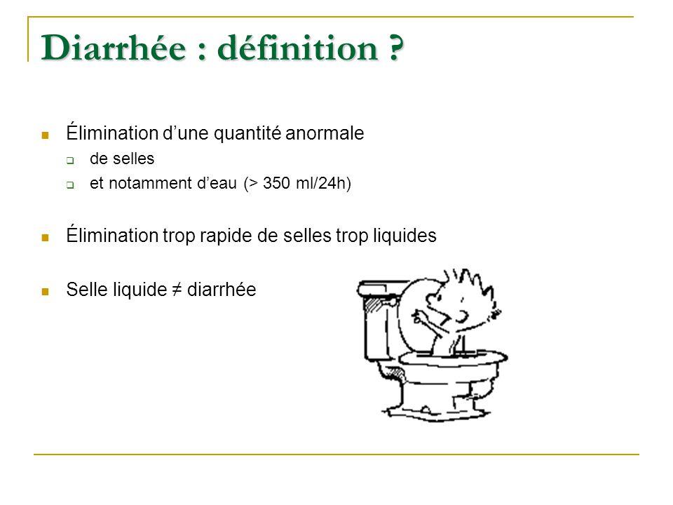 Diarrhée : définition Élimination d'une quantité anormale