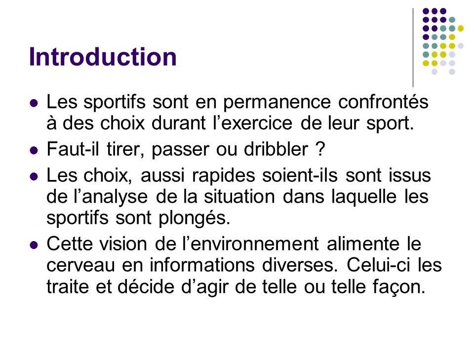 Introduction Les sportifs sont en permanence confrontés à des choix durant l'exercice de leur sport.