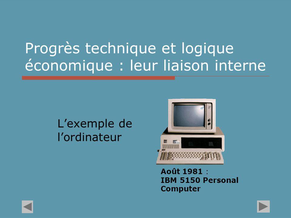 Progrès technique et logique économique : leur liaison interne