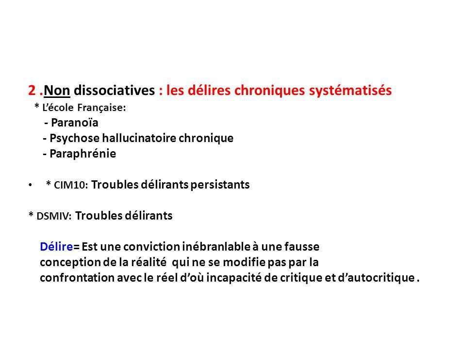 2 .Non dissociatives : les délires chroniques systématisés