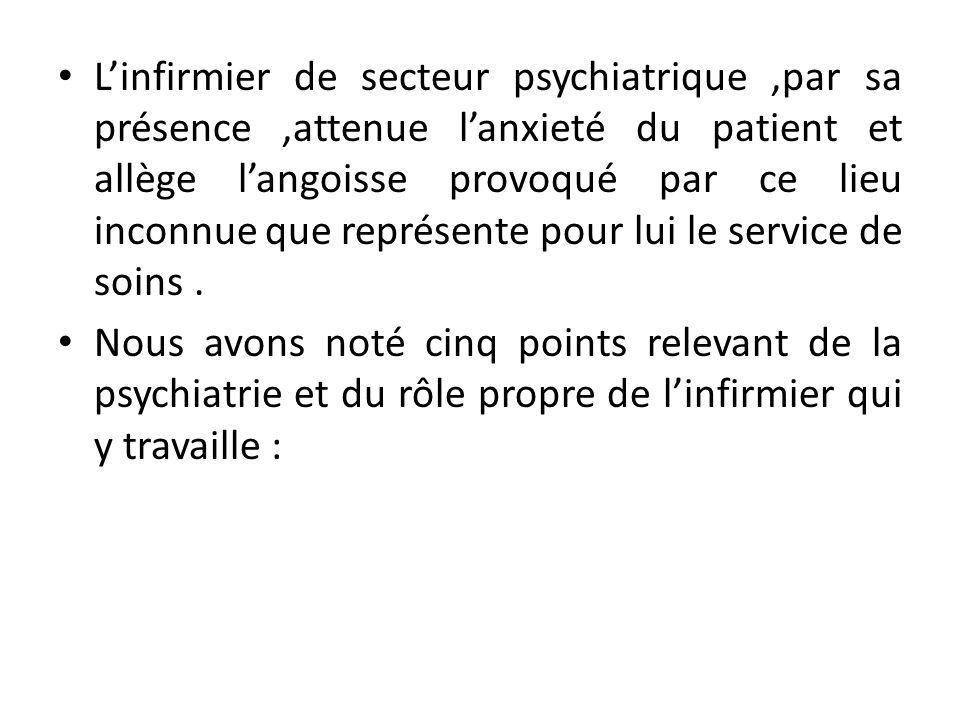 L'infirmier de secteur psychiatrique ,par sa présence ,attenue l'anxieté du patient et allège l'angoisse provoqué par ce lieu inconnue que représente pour lui le service de soins .