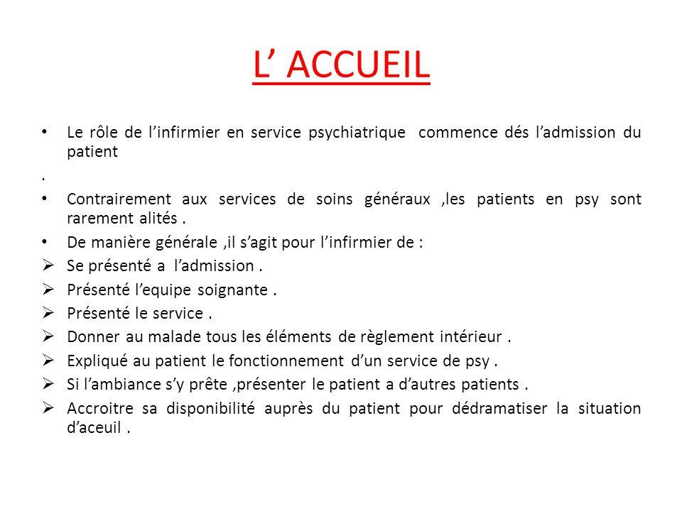 L' ACCUEIL Le rôle de l'infirmier en service psychiatrique commence dés l'admission du patient. .