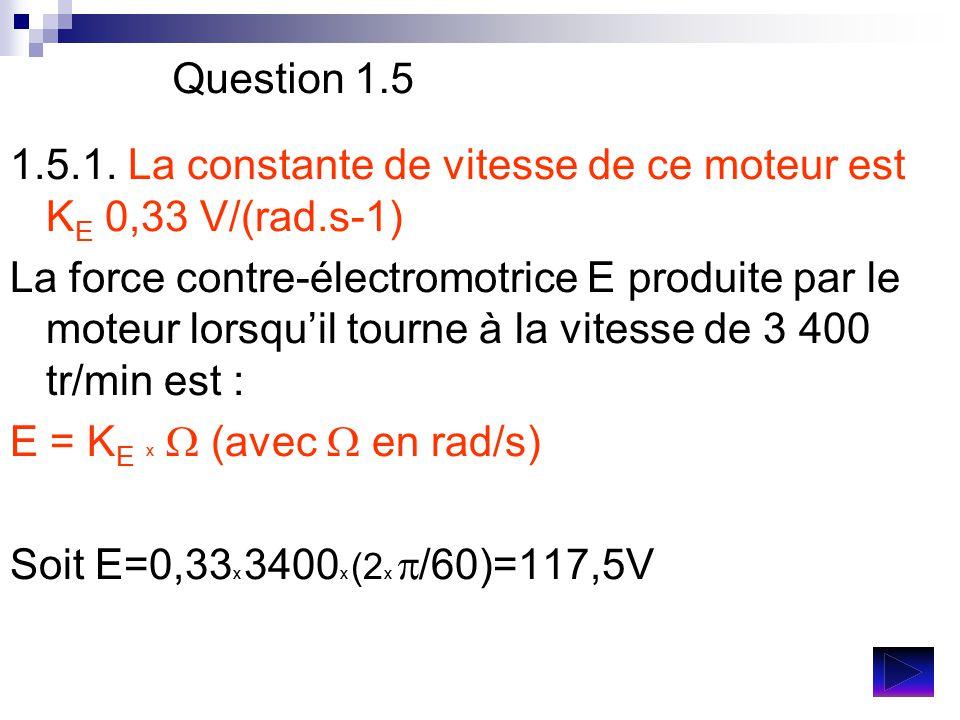 Question 1.5 1.5.1. La constante de vitesse de ce moteur est KE 0,33 V/(rad.s-1)