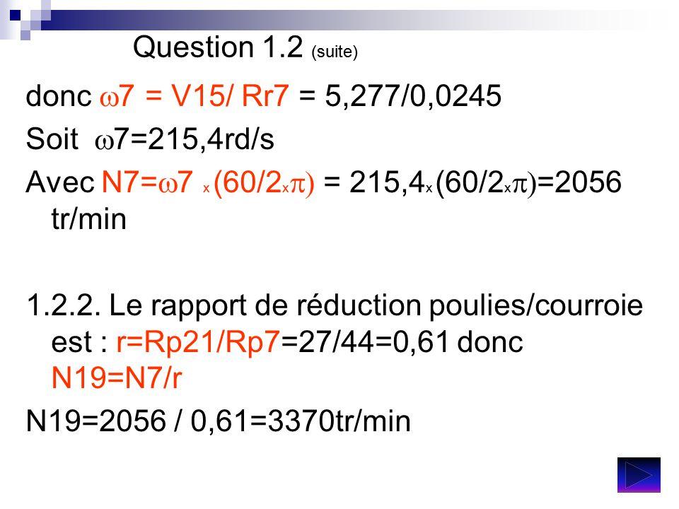 Question 1.2 (suite) donc w7 = V15/ Rr7 = 5,277/0,0245. Soit w7=215,4rd/s. Avec N7=w7 x (60/2xp) = 215,4x (60/2xp)=2056 tr/min.