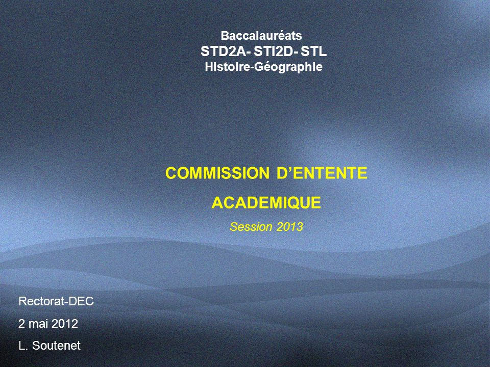 COMMISSION D'ENTENTE ACADEMIQUE