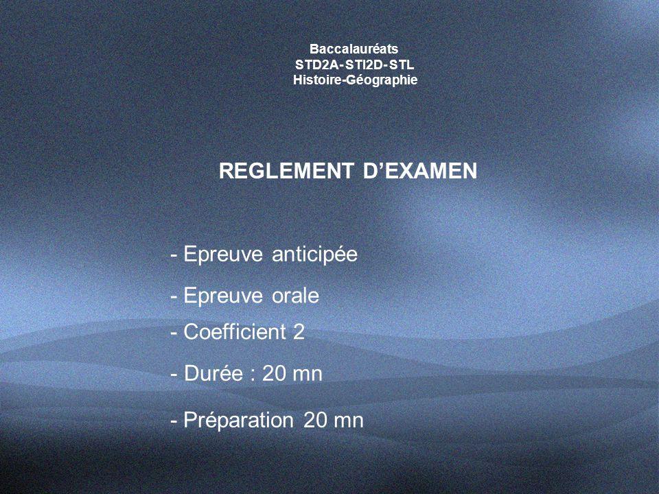 REGLEMENT D'EXAMEN - Epreuve anticipée - Epreuve orale - Coefficient 2