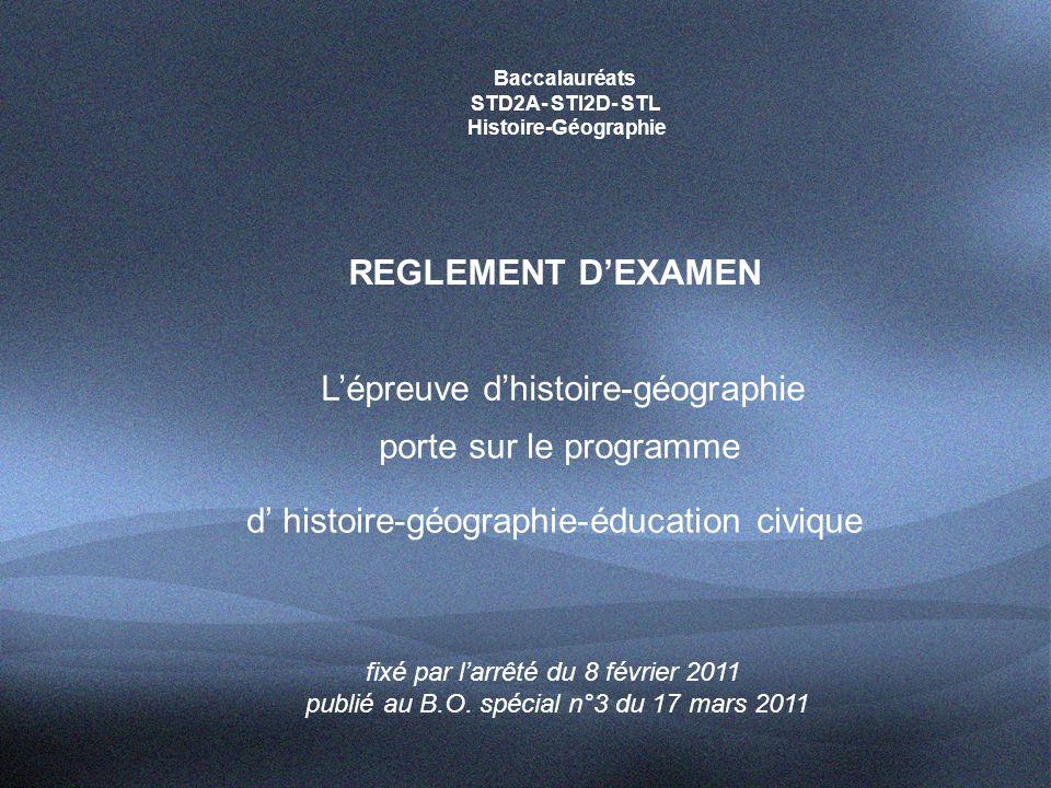 L'épreuve d'histoire-géographie