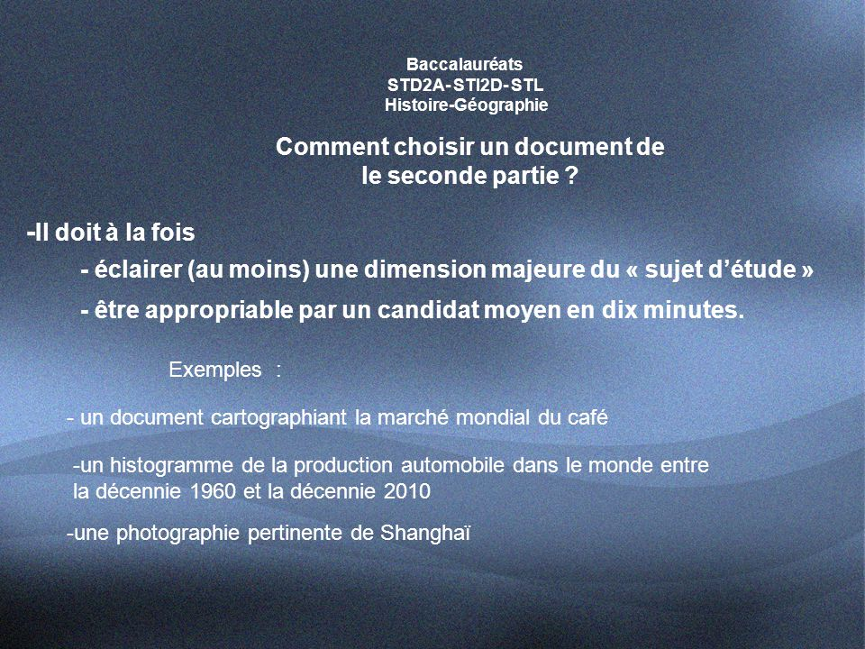 Comment choisir un document de le seconde partie