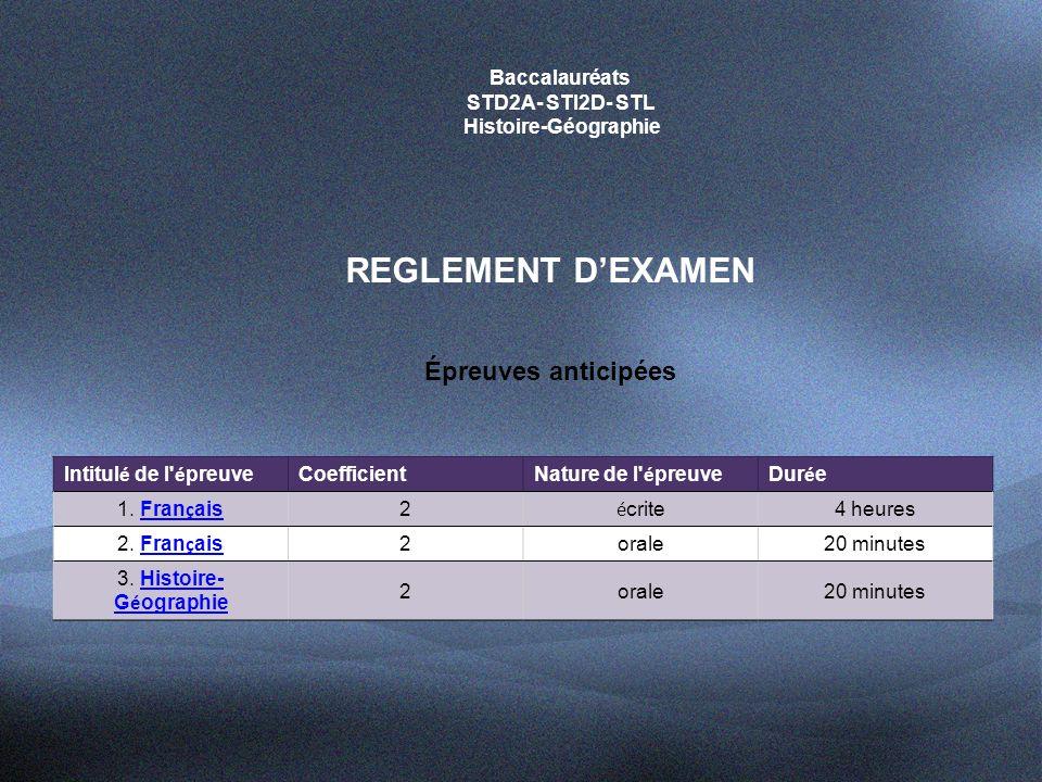 REGLEMENT D'EXAMEN Épreuves anticipées Baccalauréats STD2A- STI2D- STL