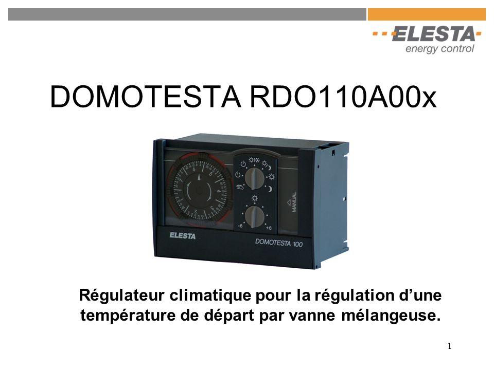 DOMOTESTA RDO110A00x Régulateur climatique pour la régulation d'une température de départ par vanne mélangeuse.