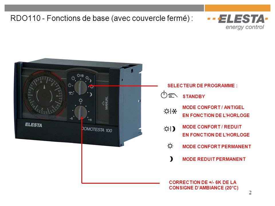 RDO110 - Fonctions de base (avec couvercle fermé) :