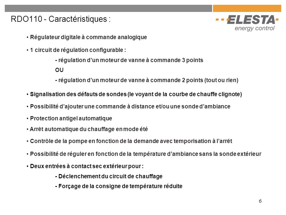 RDO110 - Caractéristiques :