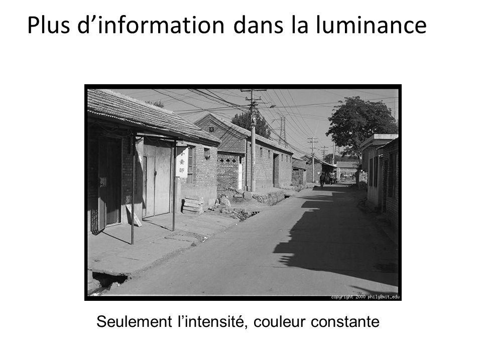 Plus d'information dans la luminance