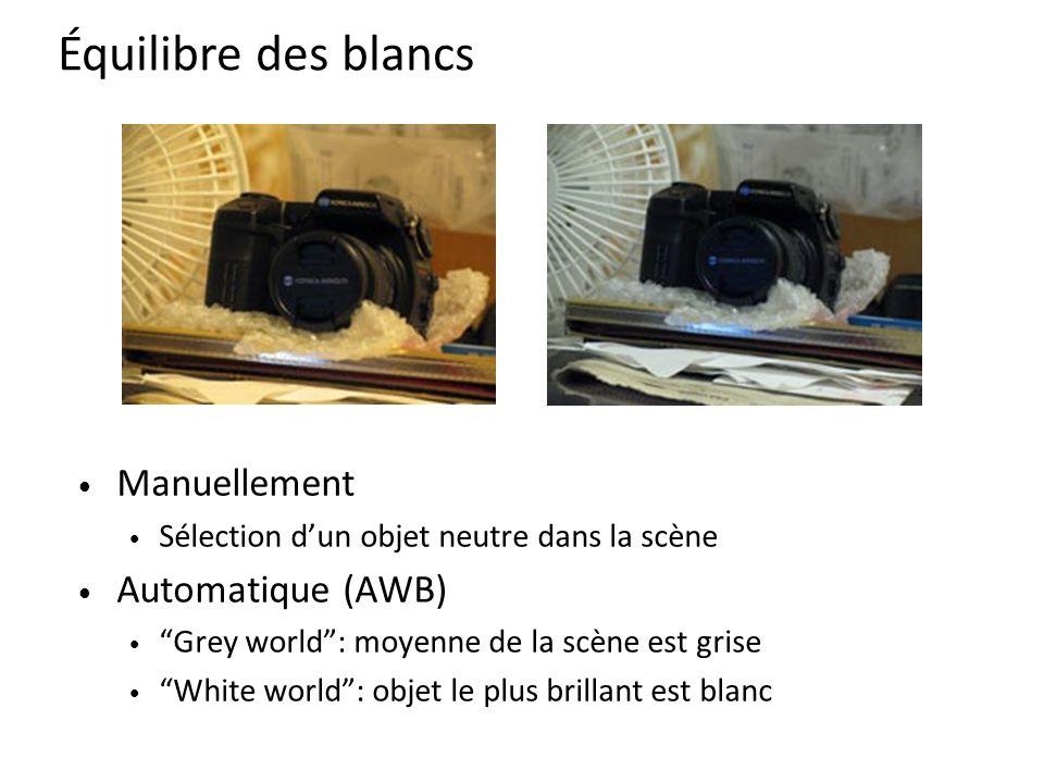 Équilibre des blancs Manuellement Automatique (AWB)