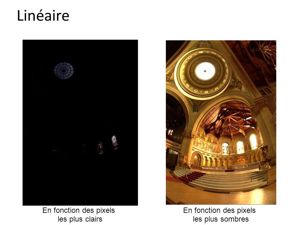 Linéaire Dessiner au tableau les 3 options: linéaire, pour les pixels les plus clairs, pour les plus sombres.