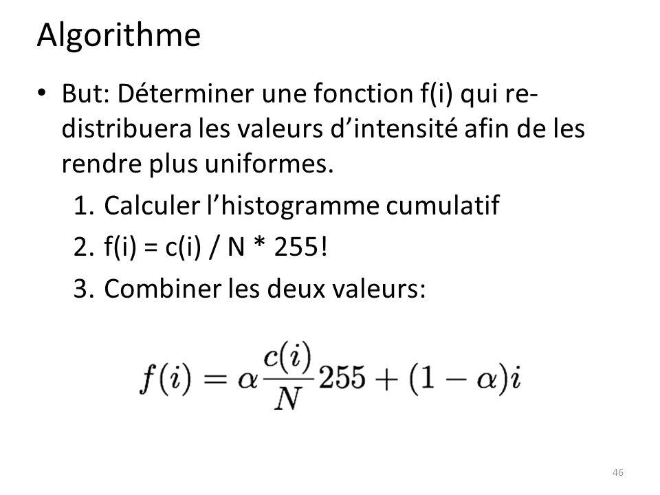 Algorithme But: Déterminer une fonction f(i) qui re- distribuera les valeurs d'intensité afin de les rendre plus uniformes.