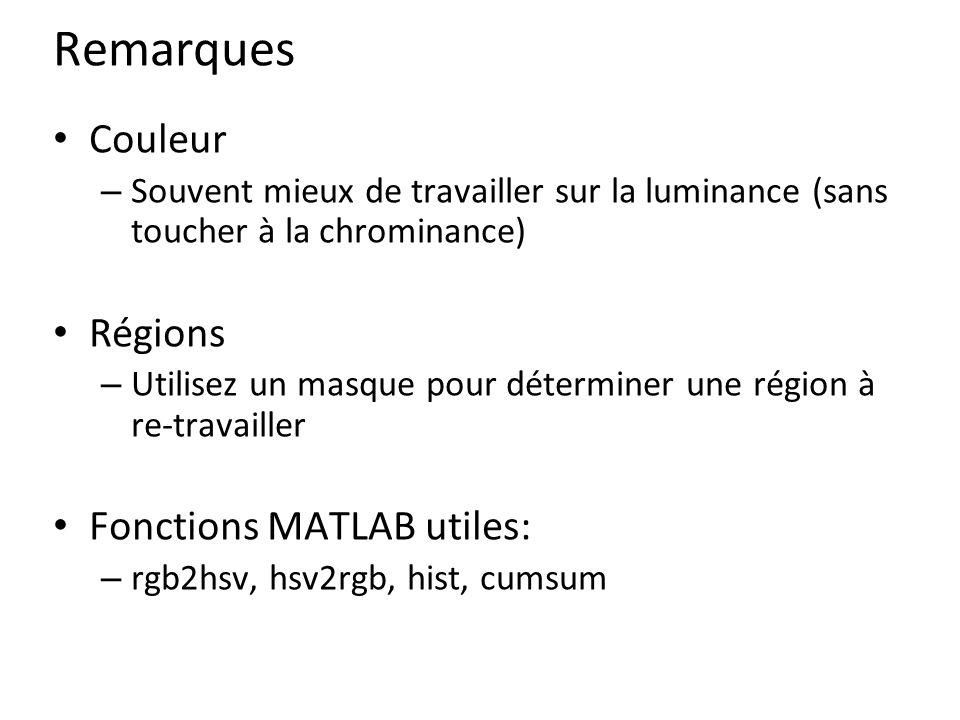 Remarques Couleur Régions Fonctions MATLAB utiles: