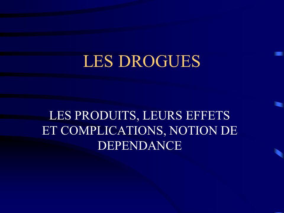 LES PRODUITS, LEURS EFFETS ET COMPLICATIONS, NOTION DE DEPENDANCE