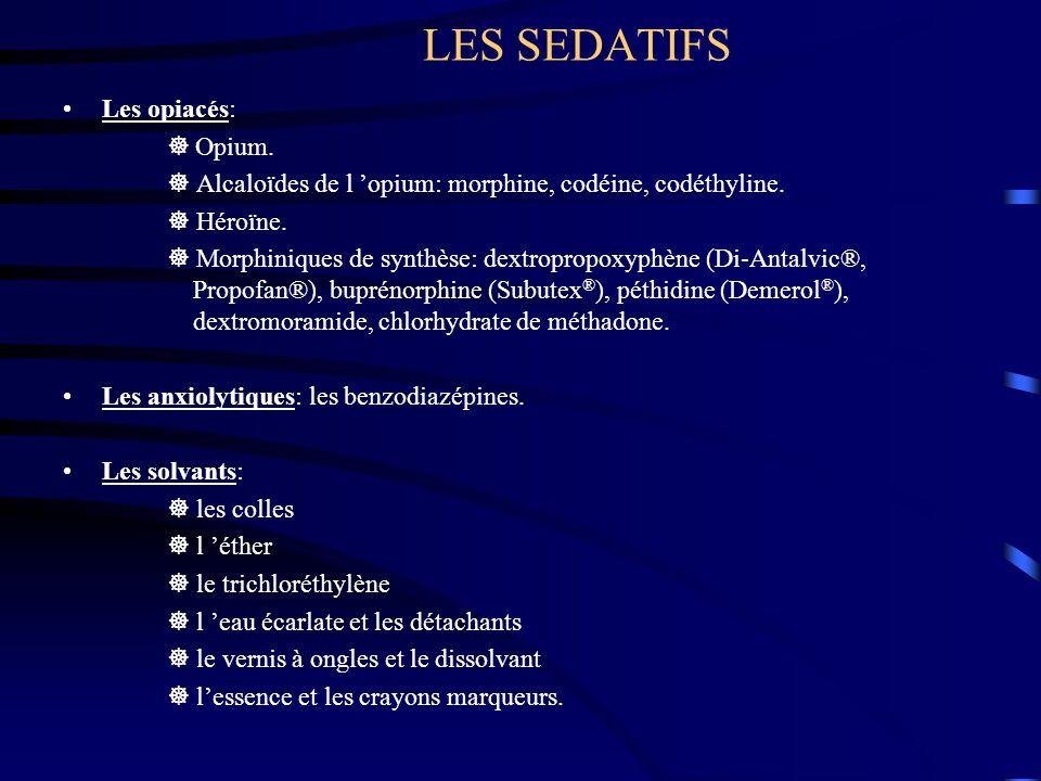 LES SEDATIFS Les opiacés:  Opium.