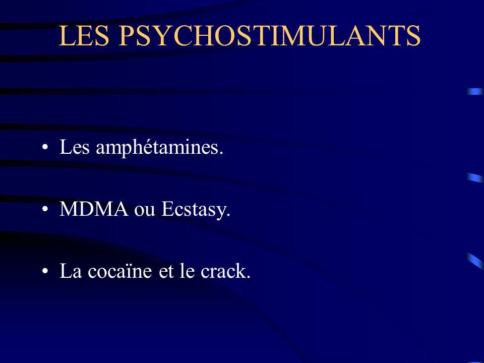 LES PSYCHOSTIMULANTS Les amphétamines. MDMA ou Ecstasy.