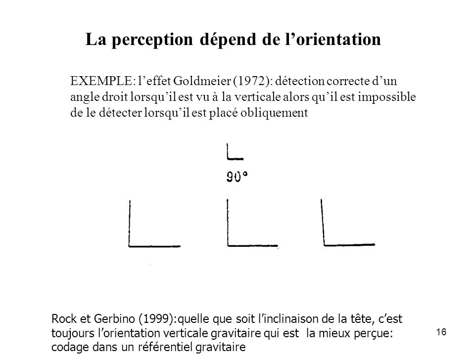 La perception dépend de l'orientation