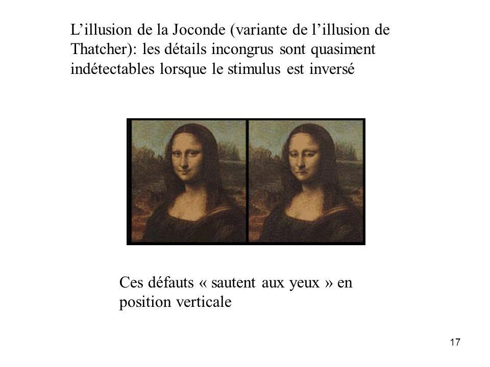 L'illusion de la Joconde (variante de l'illusion de Thatcher): les détails incongrus sont quasiment indétectables lorsque le stimulus est inversé