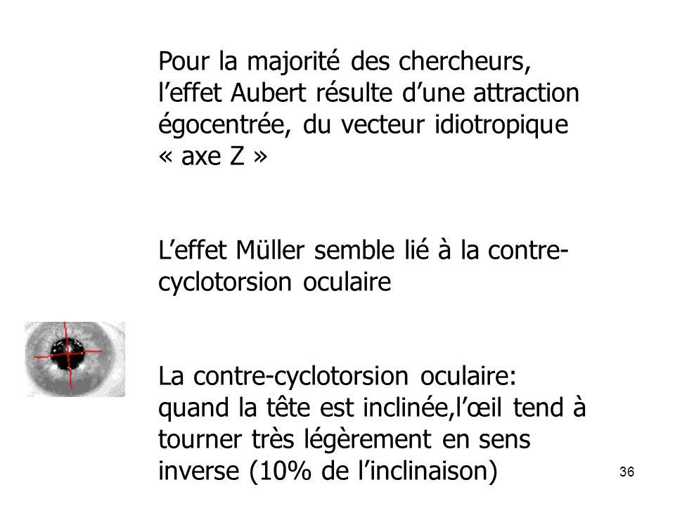 Pour la majorité des chercheurs, l'effet Aubert résulte d'une attraction égocentrée, du vecteur idiotropique « axe Z »