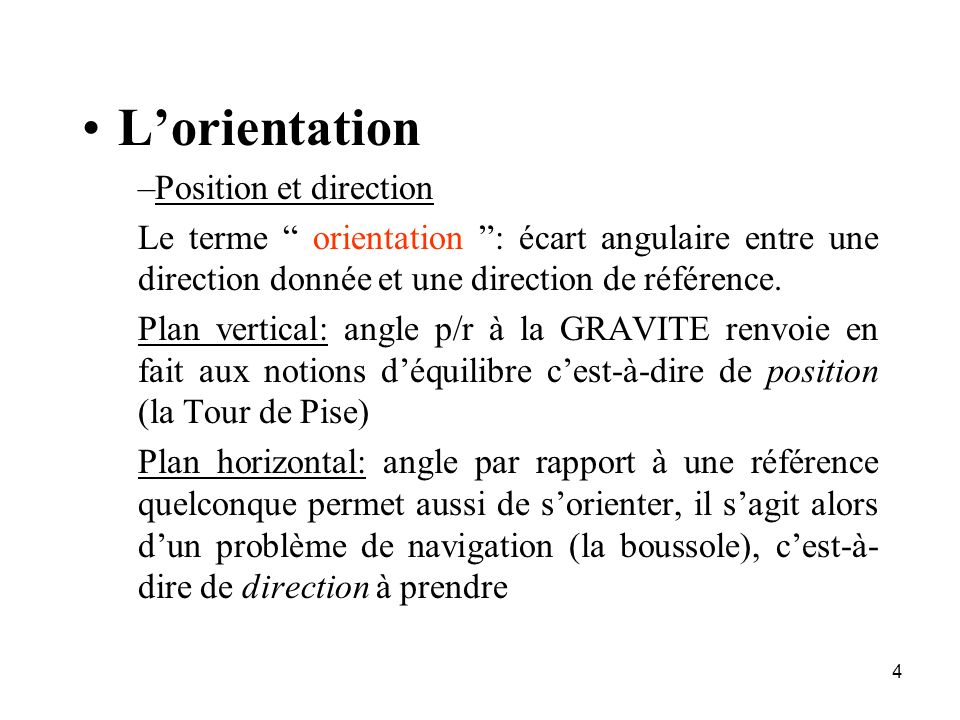 L'orientation Position et direction