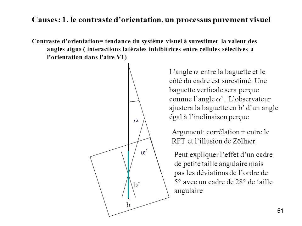 Causes: 1. le contraste d'orientation, un processus purement visuel