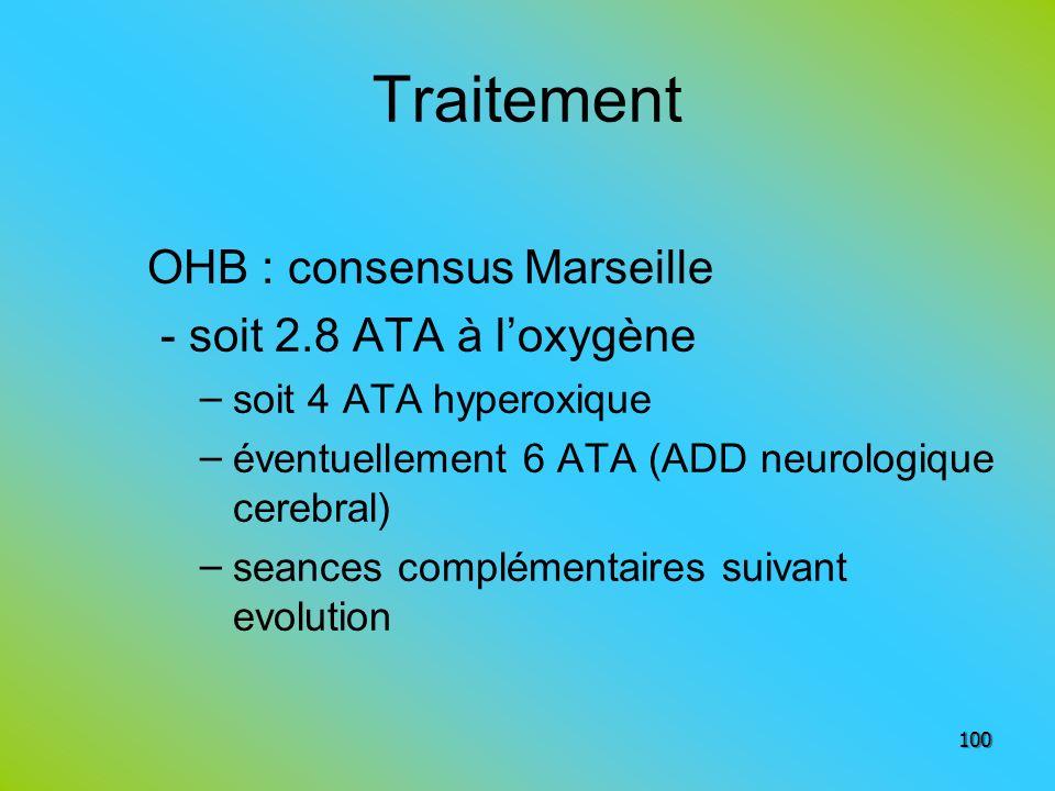 Traitement OHB : consensus Marseille - soit 2.8 ATA à l'oxygène